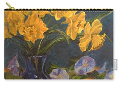 Carry-all Pouch featuring the painting Daffodils by Karen Ilari