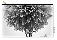 Dahlia In Black And White Carry-all Pouch by Mark Alder