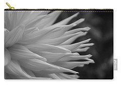 Dahlia Petals In Black And White Carry-all Pouch
