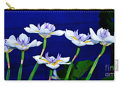 Dainty White Irises All In A Row Carry-all Pouch by Kaye Menner
