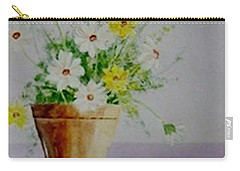 Carry-all Pouch featuring the painting Daisies In Pot by Jamie Frier