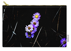 Carry-all Pouch featuring the photograph Daisies In Purple by Lorraine Devon Wilke