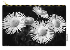 Carry-all Pouch featuring the photograph Daisy Flowers Black And White by Christina Rollo