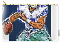 Dak Prescott Dallas Cowboys Oil Art Carry-all Pouch by Joe Hamilton