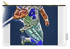 Dak Prescott Dallas Cowboys Oil Art Series 3 Carry-all Pouch by Joe Hamilton