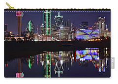 Dallas Reflecting At Night Carry-all Pouch by Frozen in Time Fine Art Photography