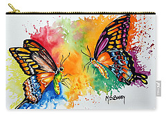 Carry-all Pouch featuring the painting Dance Of The Butterflies by Maria Barry
