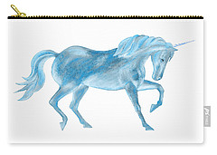 Carry-all Pouch featuring the mixed media Dancing Blue Unicorn by Elizabeth Lock
