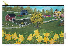 Carry-all Pouch featuring the painting Dancing Daffodils by Virginia Coyle