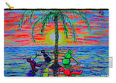 Carry-all Pouch featuring the painting Dancing Snowman by Viktor Lazarev