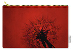Dandelion Silhouette On Red Textured Background Carry-all Pouch