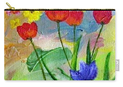 Carry-all Pouch featuring the painting Daria's Flowers by Jamie Frier