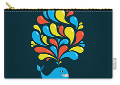 Dark Colorful Splash Happy Cartoon Whale Carry-all Pouch