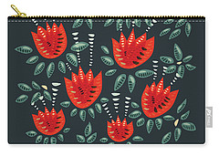 Dark Floral Pattern Of Abstract Red Tulips Carry-all Pouch