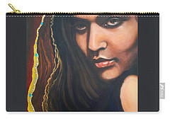 Carry-all Pouch featuring the painting Dark Latin Eyes by Sigrid Tune