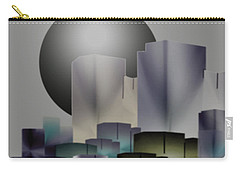 Carry-all Pouch featuring the digital art Dark Moon Over The City by John Krakora