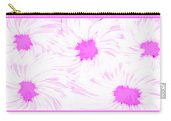 'dark Pink And White Flower Abstract' Carry-all Pouch