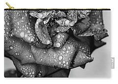 Carry-all Pouch featuring the photograph Dark Wet Rose by T Brian Jones