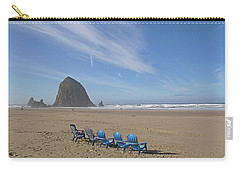 Carry-all Pouch featuring the photograph Day At Haystack Rock by Suzy Piatt