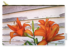 Carry-all Pouch featuring the photograph Day Lilies And Peeling Paint by Nancy Patterson