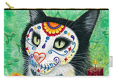 Carry-all Pouch featuring the painting Day Of The Dead Cat Candles - Sugar Skull Cat by Carrie Hawks