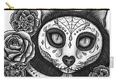 Carry-all Pouch featuring the drawing Day Of The Dead Cat Skull - Sugar Skull Cat by Carrie Hawks