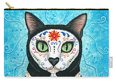 Day Of The Dead Cat - Sugar Skull Cat Carry-all Pouch