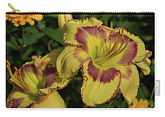 Carry-all Pouch featuring the photograph Daylilies And Zinnia by Sandy Keeton