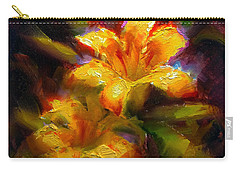 Carry-all Pouch featuring the painting Daylily Sunshine - Colorful Tiger Lily/orange Day-lily Floral Still Life  by Karen Whitworth