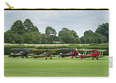 Carry-all Pouch featuring the photograph De Havilland Tiger Moths Line-up by Gary Eason