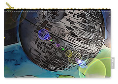 Carry-all Pouch featuring the drawing Deathstar Illustration by Justin Moore