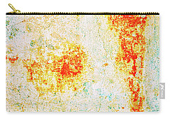 Carry-all Pouch featuring the photograph Decayed Wall With Orange Paint by Silvia Ganora