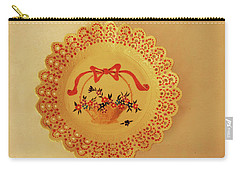 Decorated Plate With A Basket And Flowers Carry-all Pouch by Itzhak Richter