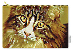 Carry-all Pouch featuring the digital art Decorative Digital Painting Maine Coon A71518 by Mas Art Studio