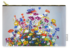 Carry-all Pouch featuring the painting Impressionist Wildflower Garden Painting A103017 by Mas Art Studio