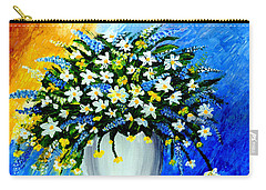 Carry-all Pouch featuring the painting Decorative Floral Acrylic Painting G62017 by Mas Art Studio