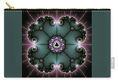 Carry-all Pouch featuring the digital art Decorative Fractal Art Purple And Green by Matthias Hauser
