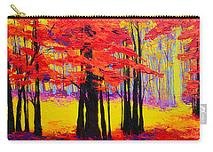 Carry-all Pouch featuring the painting Deep Within - Enchanted Forest Collection - Modern Impressionist Landscape Art - Palette Knife by Patricia Awapara