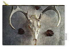 Deer Buck Skull With Fallen Leaves Carry-all Pouch