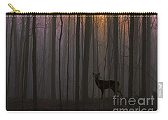 Deer In The Forest At Sunrise Carry-all Pouch by Diane Diederich