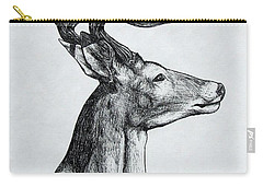 Carry-all Pouch featuring the drawing Deer by Michael  TMAD Finney