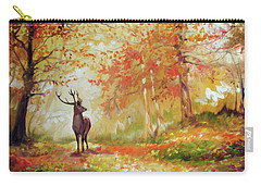 Deer On The Wooden Path Carry-all Pouch
