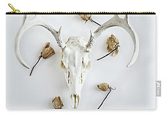 Carry-all Pouch featuring the photograph Deer Skull With Antlers And Roses by Stephanie Frey