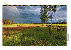 Carry-all Pouch featuring the photograph Deer Under The Rainbow by Cat Connor