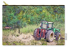 Carry-all Pouch featuring the photograph Deere In The Wildflowers - Line And Ink Art by Kerri Farley