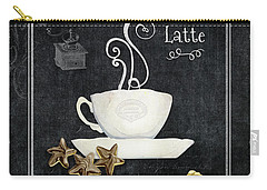 Deja Brew Chalkboard Coffee 2 Caffe Latte Shortbread Chocolate Cookies Carry-all Pouch by Audrey Jeanne Roberts