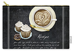 Carry-all Pouch featuring the painting Deja Brew Chalkboard Coffee 3 Cappuccino Cupcakes Chocolate Recipe  by Audrey Jeanne Roberts