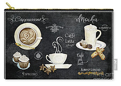 Carry-all Pouch featuring the painting Deja Brew Chalkboard Coffee Cappuccino Mocha Caffe Latte by Audrey Jeanne Roberts