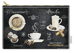 Deja Brew Chalkboard Coffee Cappuccino Mocha Caffe Latte Carry-all Pouch by Audrey Jeanne Roberts