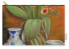 Delft Vase And Mini Tulips Carry-all Pouch by Marlene Book